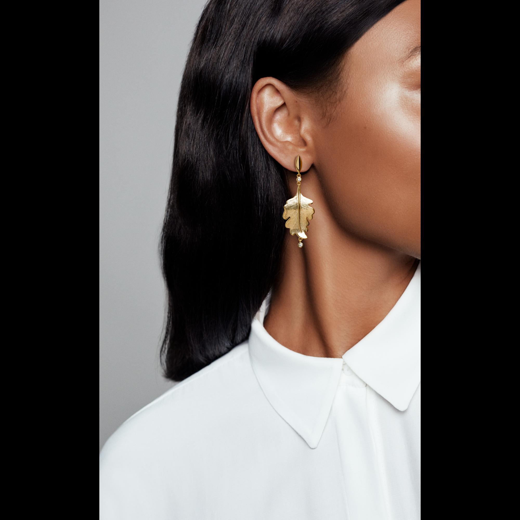 橡树叶耳环