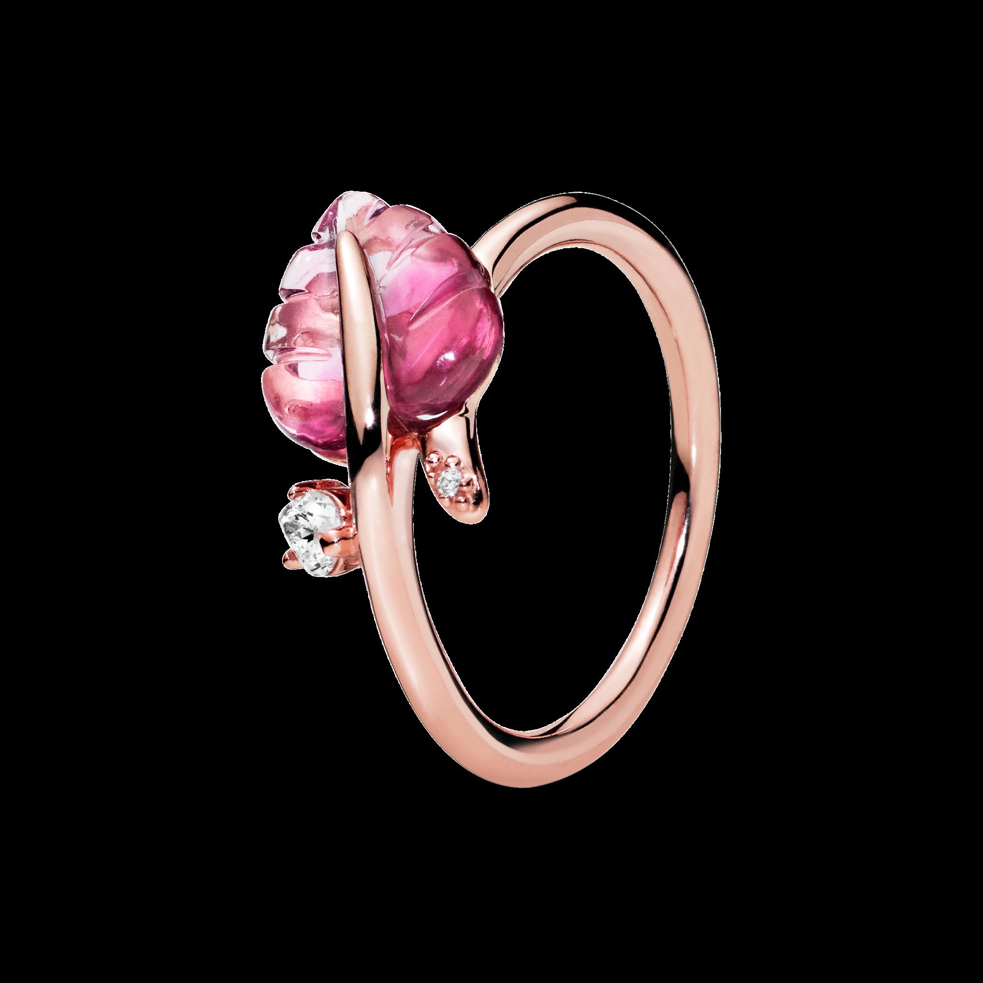 粉色穆拉诺琉璃落叶戒指